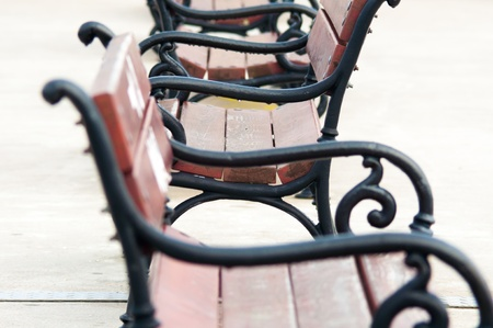 an image of empty wooden bench photo