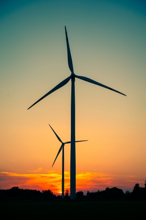 windturbine: Windturbine farm at the sunset