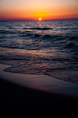 Colorful sunset over Baltic Sea photo