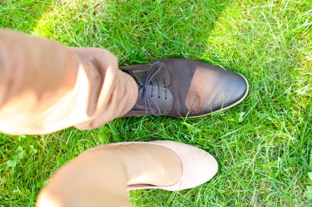 An image of Top view of a females and womens dress shoes photo