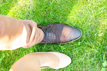 An image of Top view of a female's and women's dress shoes photo