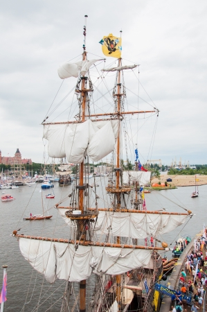 verticals: SZCZECIN - AUGUST 04: Tall ships sailing on Odra river in Szczecin during the final of The Tall Ships Races 2013 in Szczecin, August 04, 2013 in Szczecin, Poland.