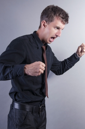 an image of angry businessman shout photo