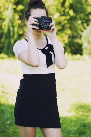 an image beautiful woman photographer photo