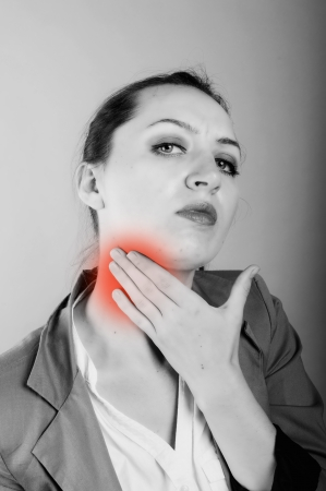 an image of businesswoman with sore throat photo