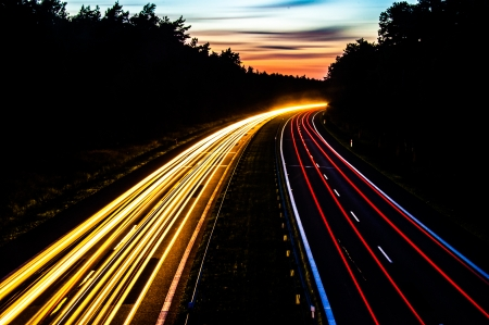 An image of Car lights on a highway at night Stock Photo - 22318029