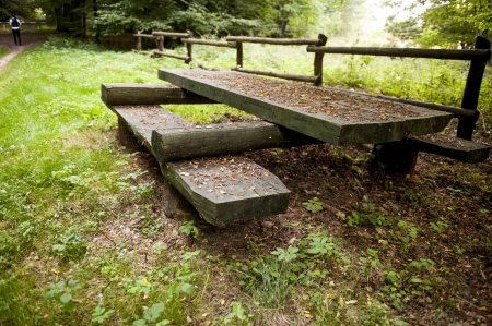 an image of wooden picnic tables in the woods photo
