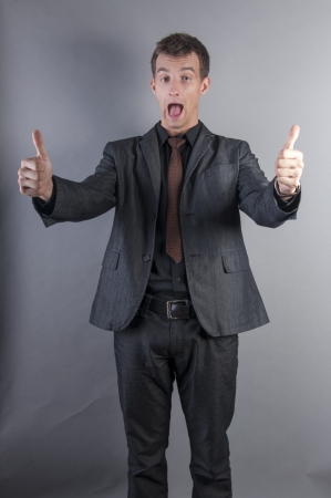 an image of businessman thumbs up photo