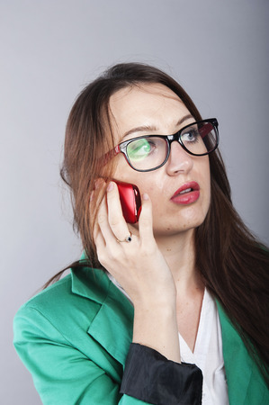 an image of Businesswoman talking on the phone photo