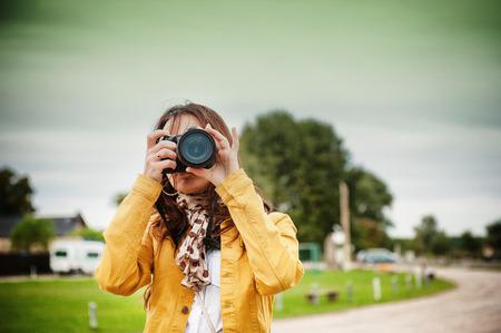 Een beeld van de natuur fotograaf neemt foto's Stockfoto