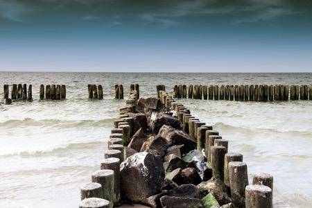 breakwaters: Breakwaters in the Baltic Sea in summer