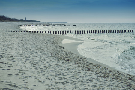 breakwaters: Breakwaters in the Baltic Sea in summer