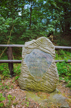 very old stone monument in the forest Stock Photo