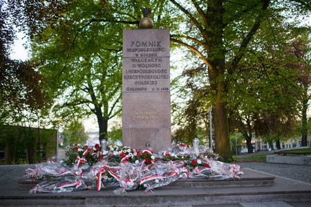 beatification: Monument in the city park in Poland. Independent symbol