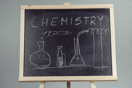 Blackboard with the chemical formula, gray background