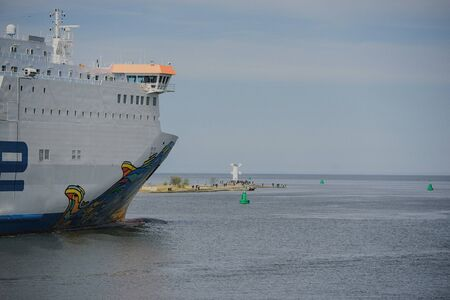 a huge ferry goes out to baltic sea