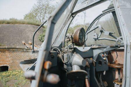 German old green rusty anti-aircraft machine gun outdoor. 写真素材