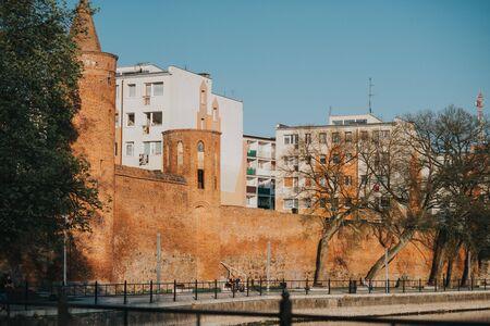 Medieval defense walls of the town of Goleniow, Poland. Stockfoto