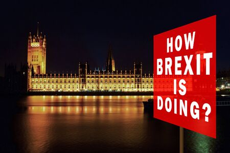 Red board with phrase 'How BREXIT is Doing?'. Brexit Concept with parliament in background at night. London, UK.