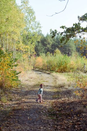 Adorable girl having fun on beautiful autumn day. authentic childhood image