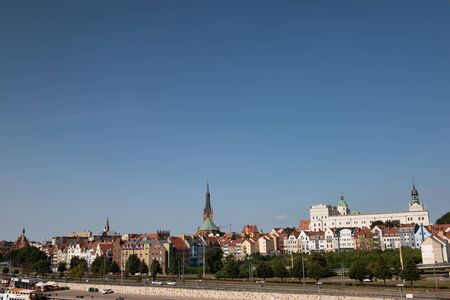 Left bank of the Oder river in Szczecin with the maritime museum and the Chrobry embankment, Szczecin, Poland.