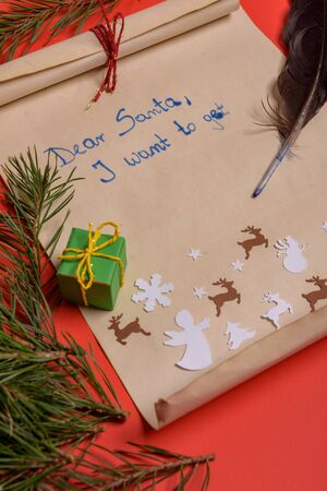Empty letter for Santa with copy space. Red background Stock Photo