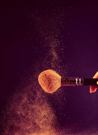 Close up of a make up powder and a brush. makeup brush with powder foundation Stock Photo - 140682573