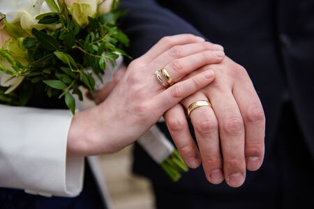 Beautiful two golden wedding rings. Made of highest quality material