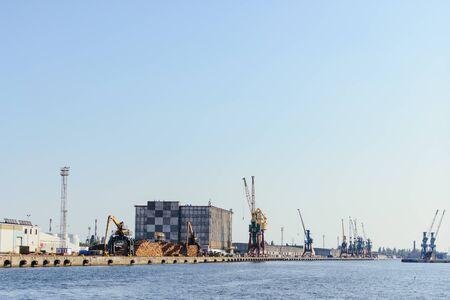 Port of Szczecin. Harbor buildings in northern Poland. Season of the spring. Odra river