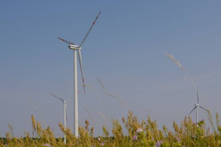 wind trubine at sunny day with blue sky