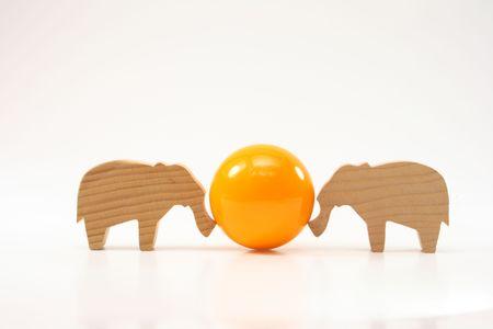 wooden elephants pushing the ball photo