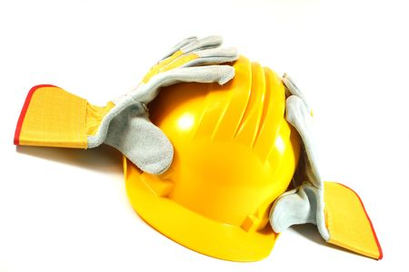 yellow helmet, gloves photo
