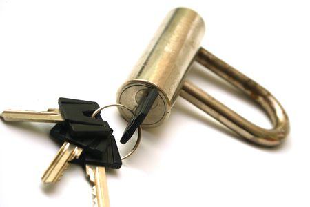Lock and key isolated on white background Stock Photo - 4170621