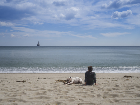 Rear view of a young woman sitting on a sandy beach facing the sea with her dog nearby 版權商用圖片