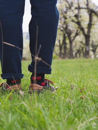 Close-up of mans legs in stylish sneakers on green grass 版權商用圖片 - 121184557