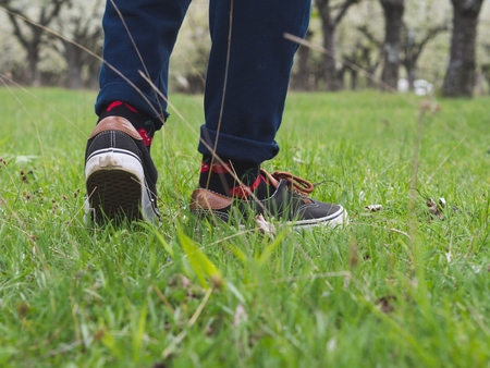 Close-up of mans legs in stylish sneakers on green grass 版權商用圖片 - 121184749