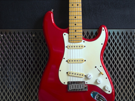 amplifier: Red electric guitar with amplifier Stock Photo