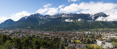 Panoramic picture of the city of Innsbruck, Austria and the Alps behind it