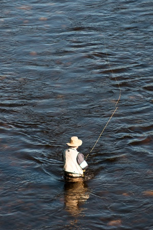 man fishing: Man fishing with a fly