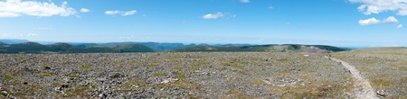 Wide panorama from the top of a tundra covered mountain 版權商用圖片
