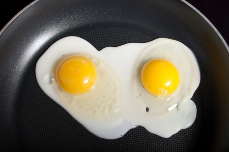 Close-up of two frying eggs cooking in a pan