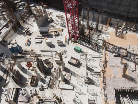 Aerial view of the construction site of a building 版權商用圖片