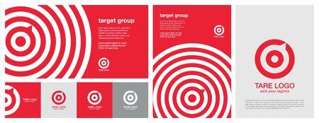 Conception cible avec plusieurs couleurs, conception de bannière horizontale et verticale et conception de modèle de publicité imprimée. Conception de bannière rouge. But rouge, flèche, boussole, bulle de dialogue, concept d'idée, coup parfait, gagnant, icône d'objectif cible. Ensemble d'identité d'entreprise. Tout en un