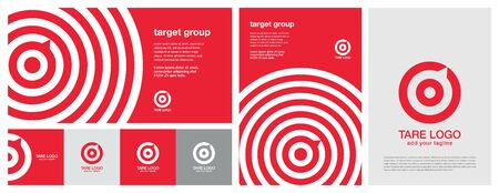 Target design with multiple colors, horizontal & vertical banner design & a print advertise template design. Red Banner design. Red aim, arrow, compass, speech bubble, Idea concept, perfect hit, winner, target goal icon. Corporate identity set. All in one