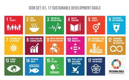 Colourful icon set of The Global Goals. Corporate social responsibility. Sustainable Development Goals - the United Nations.