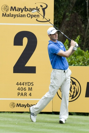 KUALA LUMPUR, MALAYSIA - APRIL 12: Martin Kaymer of Germany teeing of in the 2nd holes during 1st round of Maybank Malaysian Open 2012 at Kuala Lumpur Golf & Country Club on Thursday, April 12, 2012