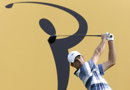 KUALA LUMPUR, MALAYSIA - APRIL 12: Charl Schwartzel of South Africa teeing off in the 18th hole during 1st round of Maybank Malaysian Open 2012 at Kuala Lumpur Golf & Country Club on Thursday, April 12, 2012