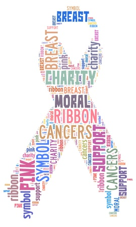 Word Cloud of Pink Ribbon Banque d'images