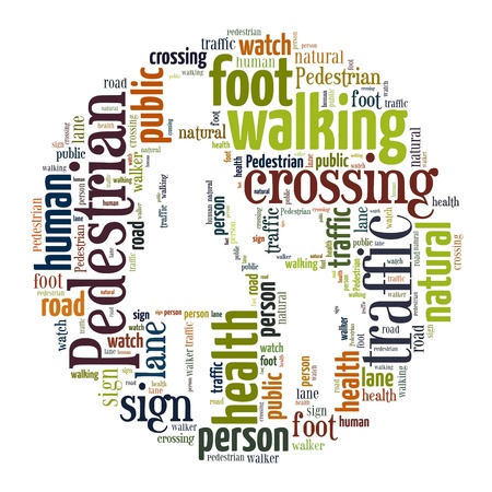 Word Cloud of Pedestrian Sign in White Background photo