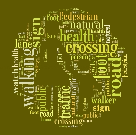 Word Cloud of Pedestrian Sign photo